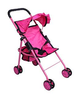 Precious Toys 0126A Hot Pink Doll Stroller with Black Handle