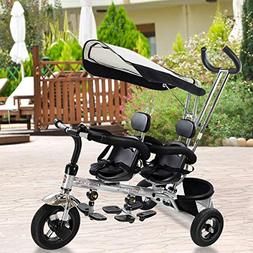 Costzon Kids Trike, 4 in 1 Twins Tricycle, 360°Rotatable Se