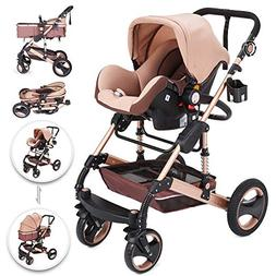 VEVOR 3 in 1 Foldable Luxury Baby Stroller Travel System wit