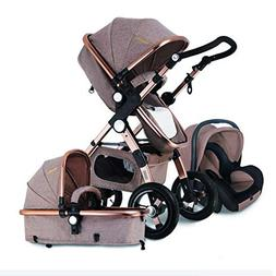 LIUMANG 3 in 1 Baby Stroller High View Khaki Fold-able Baby