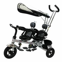 4 In 1 Twins Kids Baby Stroller Tricycle Safety Double Rotat