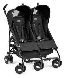 Peg Perego 2015 Pliko Mini Twin Double Stroller in Onyx Bran