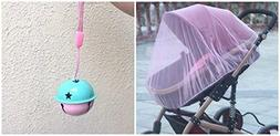 "2x Pink Kids Baby Mosquito Net for Strollers, 59""x47"" with B"