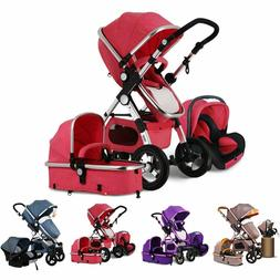 3-In-1 Baby Stroller High View Pram Foldable Pushchair Bassi