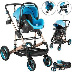 Luxury Baby Stroller 3 in 1 Newborn High View Folding Carria