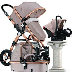 Luxury 3 in 1Baby Stroller with Car Seat For Newborn High Vi