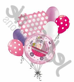 7 pc Baby Girl Stroller Balloon Bouquet Party Decoration Wel
