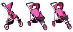 Precious Toys Jogger Hot Pink Doll Stroller, Black Foam Hand