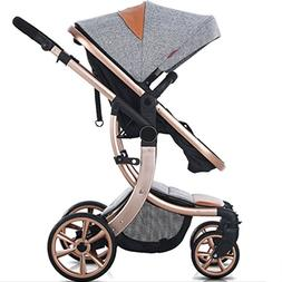 AIMILE Newborn Baby Pram Infant Foldable Anti-Shock High Vie