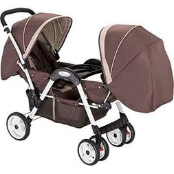 AMOR-45156BROWN-AmorosO Deluxe Double Stroller