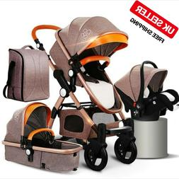 Baby Pram Buggy Pushchair 3in1 Newborn Car Seat Carrycot Str
