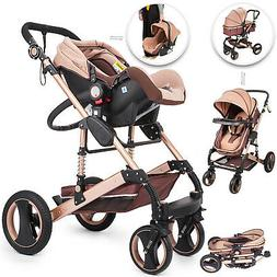 Luxury Baby Stroller 3 in 1 with Portable Seat For Newborn F