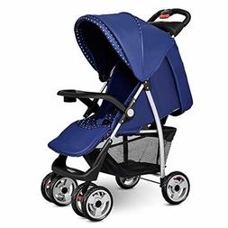 Costzon Baby Stroller, Foldable Infant Pushchair with 5-Poin