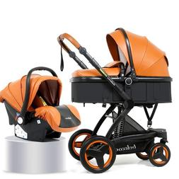 Baby Stroller With Car Seat PU Foldable Basket Sit Reclining