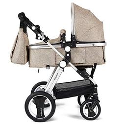 Babyjoy Baby Stroller, Aluminum 2-in-1 Foldable Toddler Stro