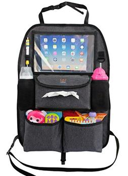 Backseat Car Organizer for Kids Toys & Baby Wipes with X-Lar