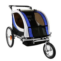 Clevr Foldable Double Bicycle Trailer Baby Bike Jogger Blue