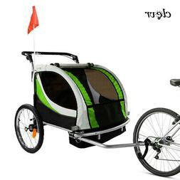 Clevr Foldable Double Bicycle Trailer Baby Bike Jogger Green