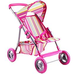 iPlay, iLearn Cute Pink Doll Stroller for Baby, Foldable and