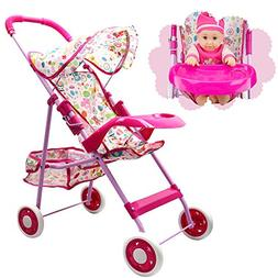 Annie's Collection Baby Doll Stroller with Tray, Foldable wi