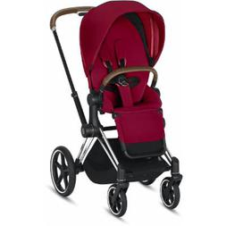 Cybex ePriam Stroller - Chrome/Brown/True Red
