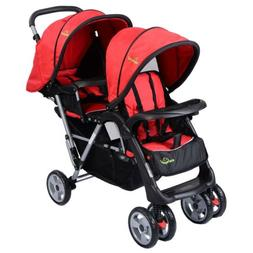 Foldable Design Twin Baby Double Stroller Push Chair 3 Color