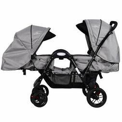 Foldable Face To Face Twin Baby Stroller Double Kids Infant