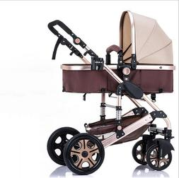 High View Foldable Baby Stroller Safety Portable Pram Reclin