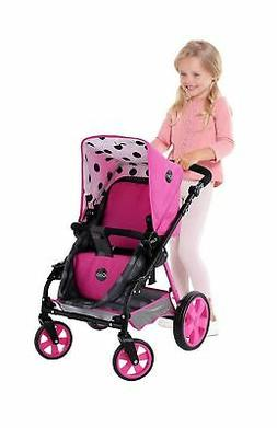 Hauck Toys for kids iCoo 3 in 1 Doll Stroller, Black and Pin