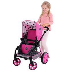 iCoo 3-in-1 Sturdy Steel Doll Stroller with Adjustable Handl