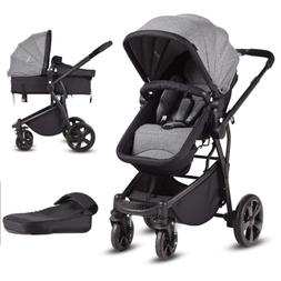 Infant Stroller, 2-in-1 Convertible Bassinet, Foldable Baby