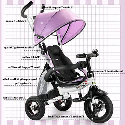 Costzon Ride On Learning Bike w/Detachable Adjustable Safety Harness, Folding Pedal, Storage Brake, Shock Pink