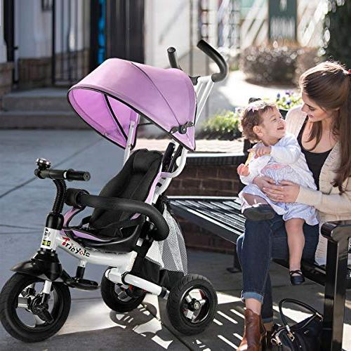 Costzon Tricycle, Ride Steer Learning Adjustable Canopy, Safety Harness, Folding Pedal, Storage Brake, Shock Absorption Pink