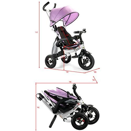 Costzon Baby Tricycle, Learning Bike w/Detachable Adjustable Canopy, Safety Harness, Folding Brake, Design, Pink