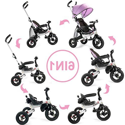 Costzon Baby Tricycle, Ride On Steer Learning Bike w/Detachable Adjustable Folding Brake, Shock Pink