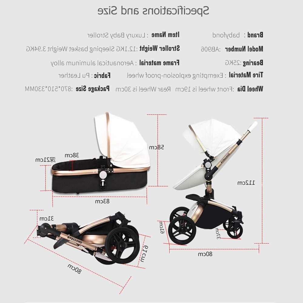 2019 PU Leather Newborn Carriage <font><b>stroller</b></font> degree rotation high 3in1 SUV suspension 6