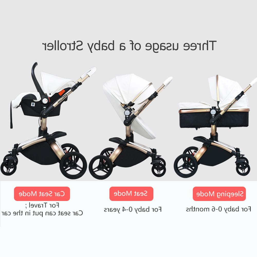 2019 PU Carriage gold frame <font><b>baby</b></font> <font><b>stroller</b></font> high 3in1 SUV