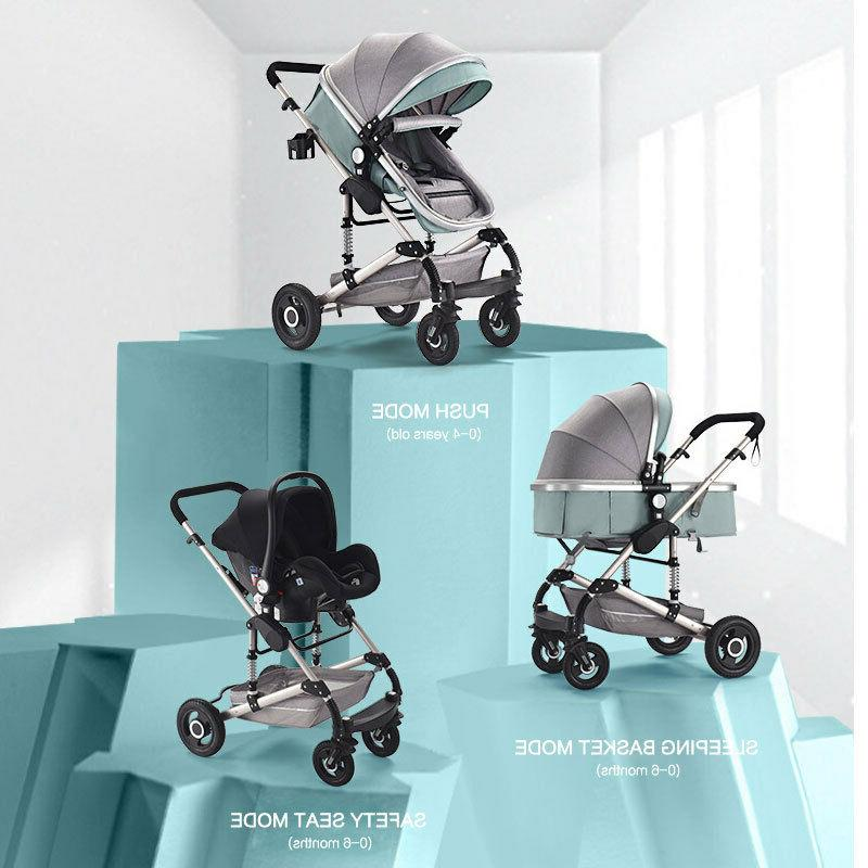 3 1 Strollers Foldable High View Pushchair Green US