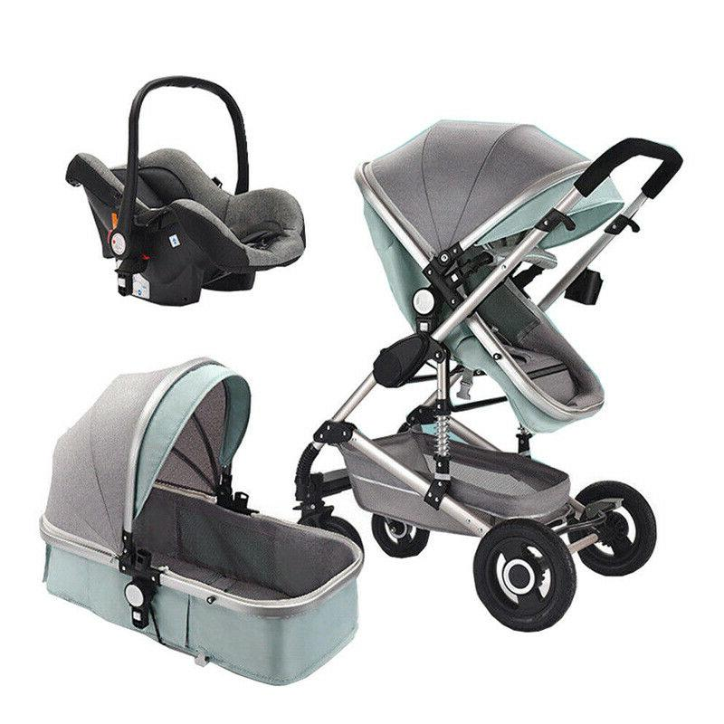 3 In Baby Strollers Foldable High View Pram Pushchair