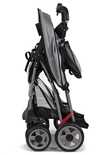 Kolcraft Cloud Plus Lightweight Stroller with 5-Point System Multi-Positon Seat, Extended Canopy, Easy One Hand Large Storage Parent Child Tray, Slate