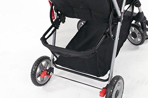 Kolcraft Lightweight Stroller with Safety System and Reclining Seat, Canopy, Easy One Hand Storage Basket, Child Slate