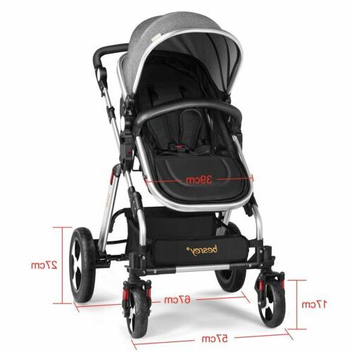 Besrey Baby Carriage Foldable Travel System Stroller Buggy G