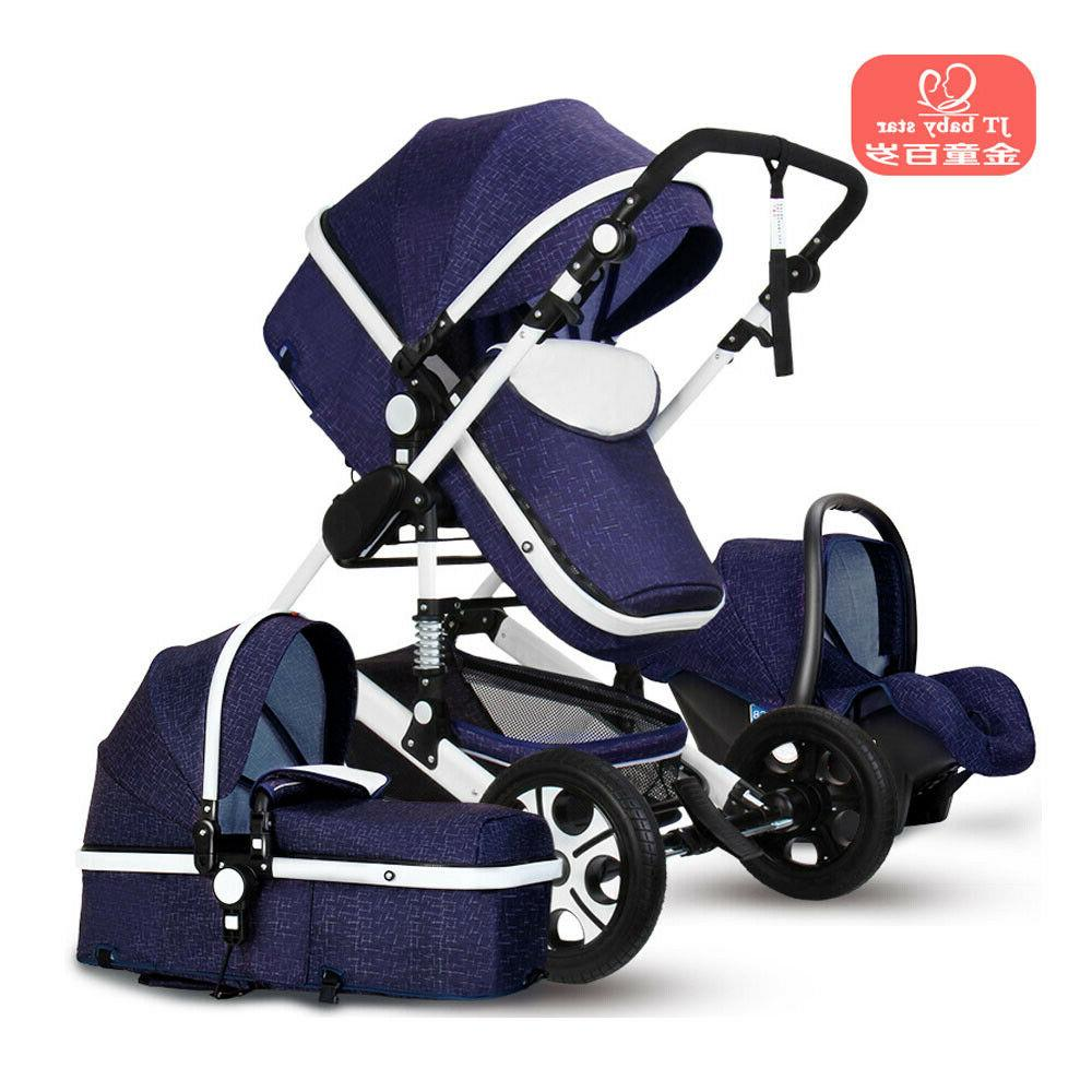Luxury 3 in1 Newborn Baby Pram Car Seat Pushchair Travel Sys