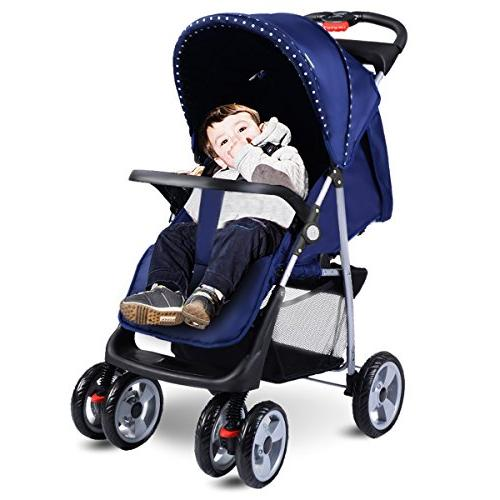 Costzon Infant Pushchair with Safety Multi-Position Seat, Suspension