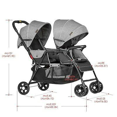 Besrey Stroller Baby and Toddler-Tandem Duo Connect Strollers - Gray
