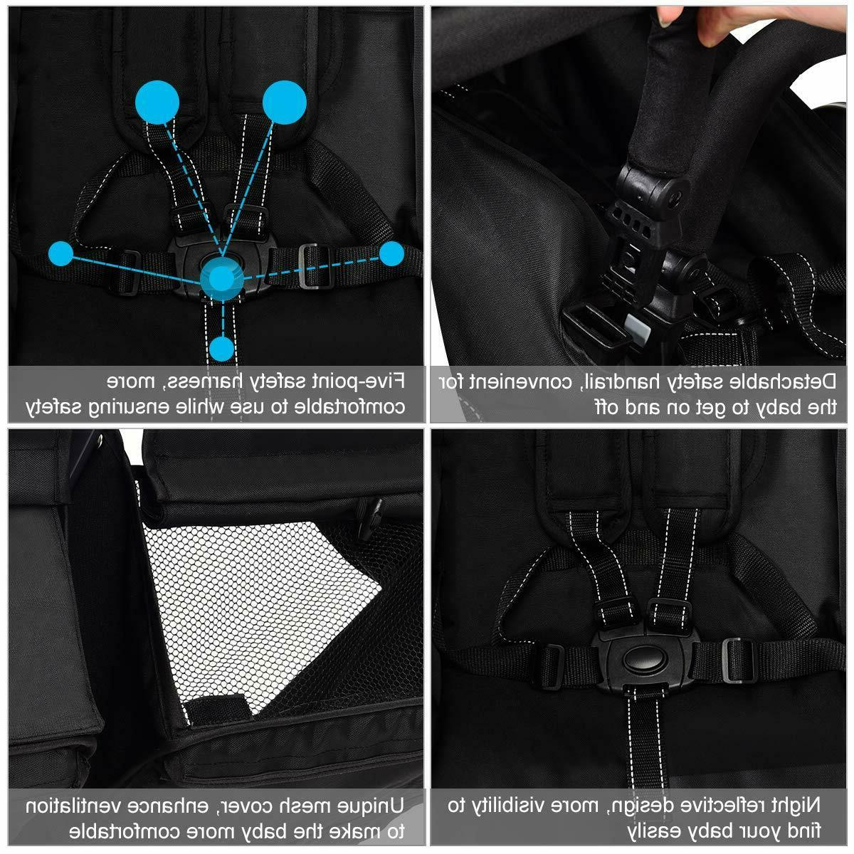 Double Lightweight Easy Folding Seat Safety Harness Black