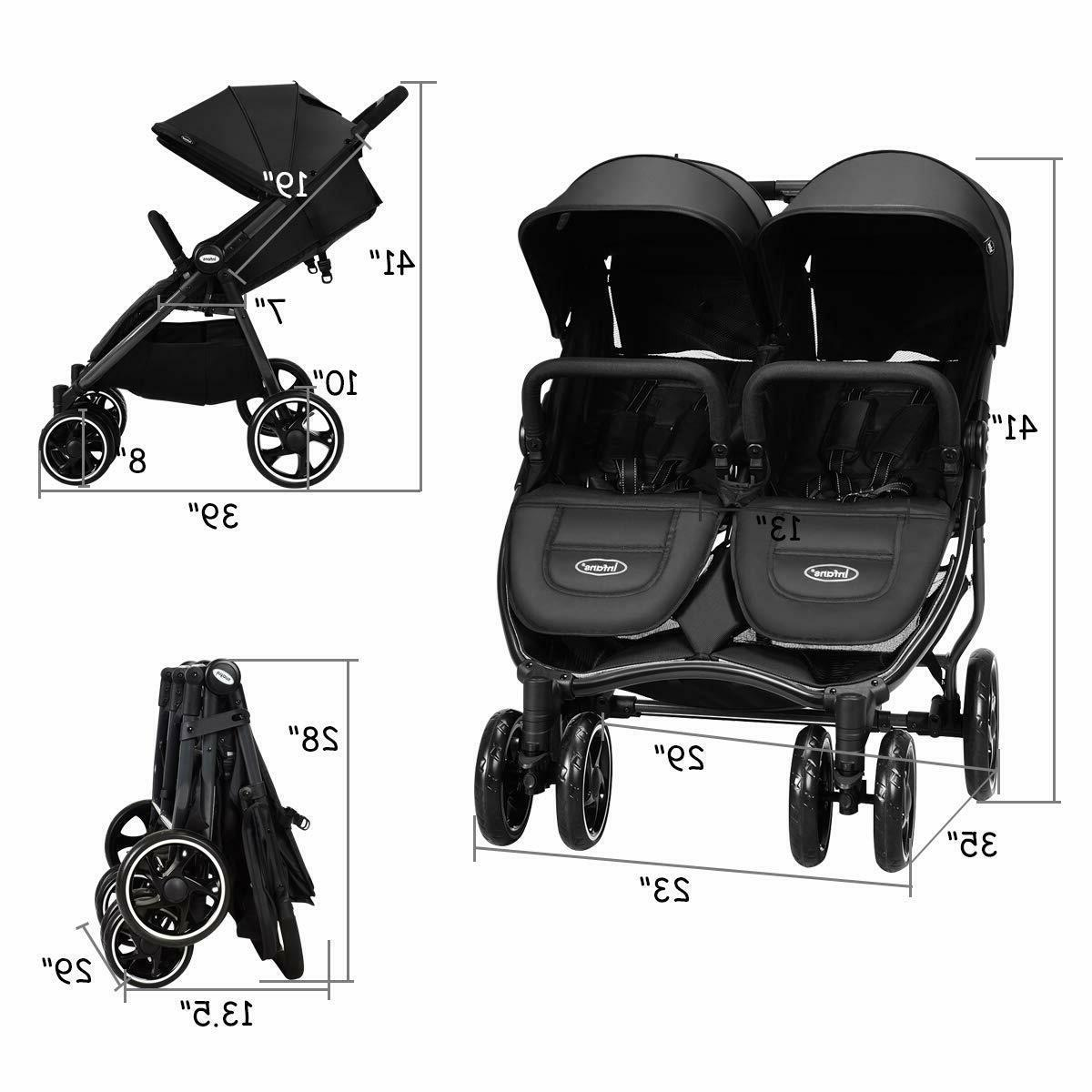 Double Stroller Lightweight Folding Duo Baby Seat Harness