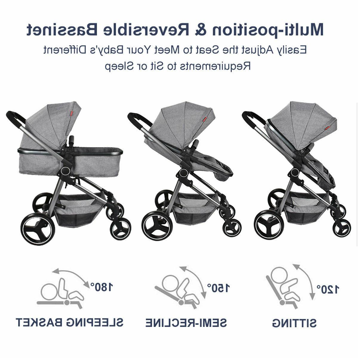 Foldable Baby Stroller Bassinet Reclining Stroller Carriage