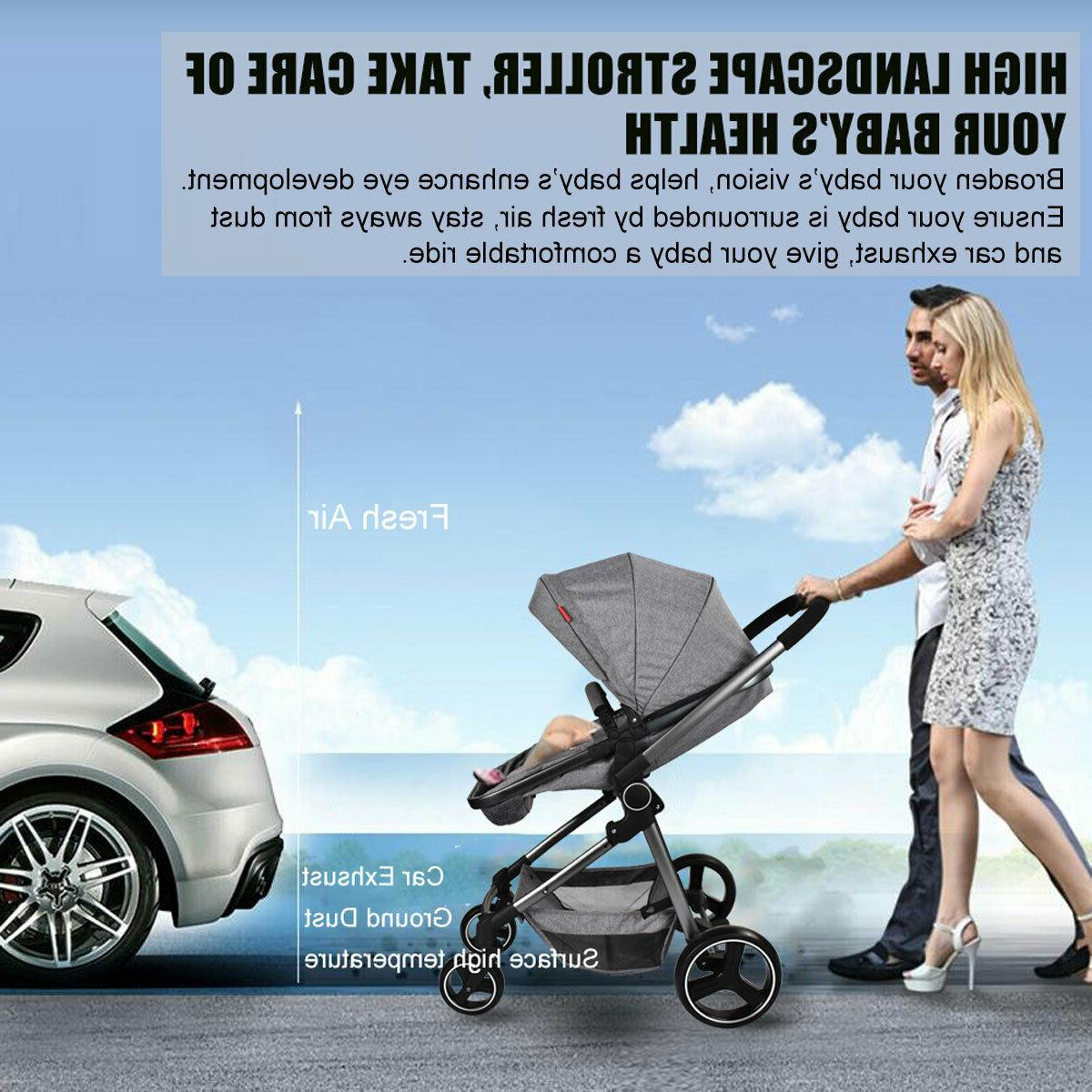 Foldable Baby Stroller Bassinet Reclining Carriage