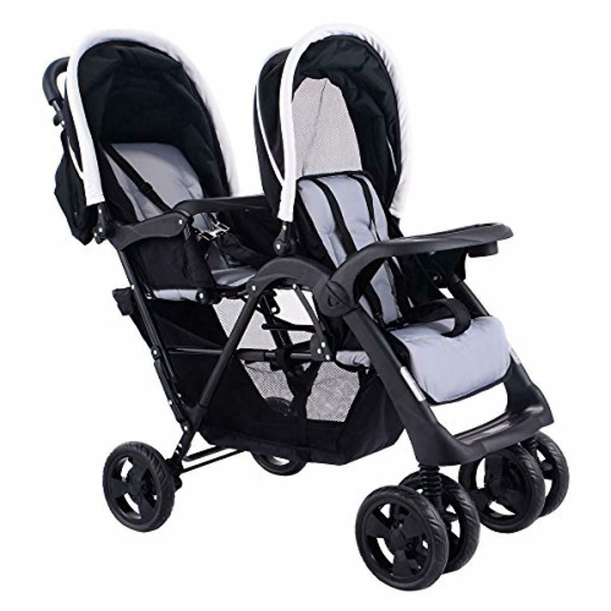Costzon Foldable Double Baby Pushchair Jogger w/Storage